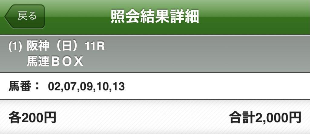 JRA 阪神競馬場 宝塚記念 馬券 馬連 BOX クロノジェネシス
